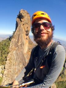 Bruno em escalada na Pedra do Baúzinho, em São Bento do Sapucaí-SP.